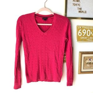 TOMMY HILFIGER Hot Pink Cable Knit V Neck Sweater